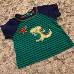 Green striped dinosaur top